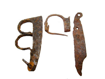 Lot Of Roman Period Iron Fire Starter, Fibula And Knife, Found Together+++