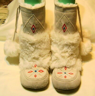 Airwalk Leather Native American Style Mocassin Women's Size 5.5 White Boots