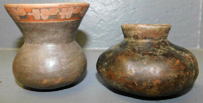 Pre Columbian Mayan Painted Clay Pottery 2 Vases / Vessels, NR