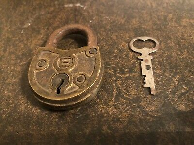 Vintage Antique Eagle 'e' Pad Lock Brass Padlock Rustic Ornate With Key Usa