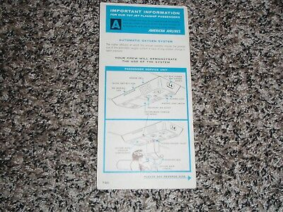 Older American Airlines Boeing 707 Safety Card / Emergency Instructions