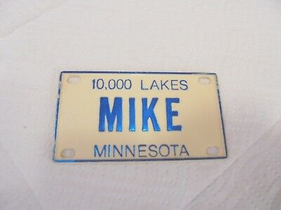 "small plastic bicycle license plate mike minnesota 10,000 lakes 4"" X 2-1/4"""