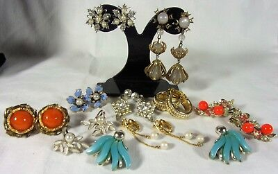 Vintage Lot Clip & Screw Back Earrings Colorful Flowers Rhinestones Pearl Enamel