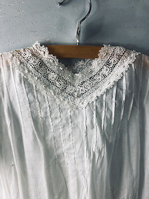 "Antique Edwardian Girl's Baby Doll white Schiffli lace dress- 28"" chest 22"" Long"