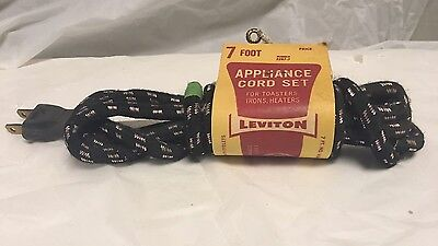 NEW OLD STOCK CLOTH COVERED  APPLIANCE CORD 7 Ft Replacement LEVITON BLACK WHITE