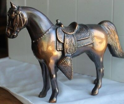 """Copper Toned Metal Horse in western saddle sculpture statue 10""""Long by 8""""tall"""