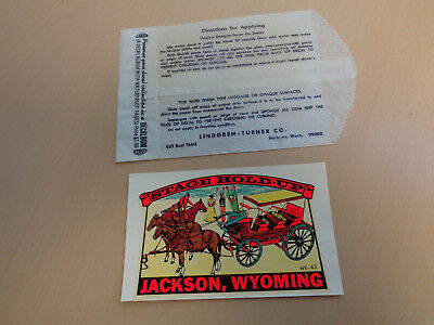 Mint Vintage Souvenir Travel Decal-Stage Hold-Up Jackson Wyoming
