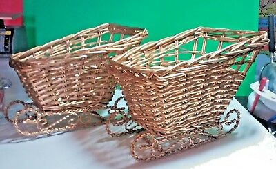 2 Gold Colored Wicker Basket Sleighs Home Holiday Decor