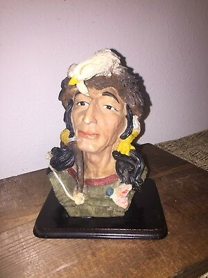 Native American Indian Head Chief Bust Statue Figurine