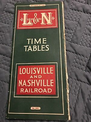 Vintage L & N Train Time Table August 1,1935 Louisville And Nashville Railroad