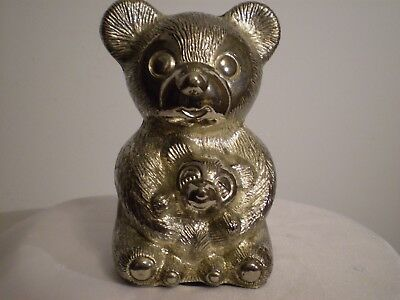 Cast Aluminum Metal *MAMA  BEAR & CUB* Coin Piggy Bank ~Vintage ~ Excellent Cond