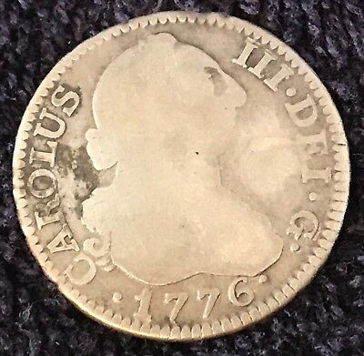 1776 Spanish Silver 2 Reales  Colonial Coin