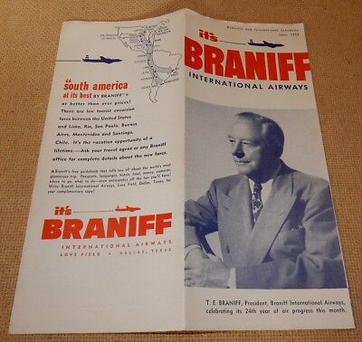 June 1952 BRANIFF International Airways TIMETABLE