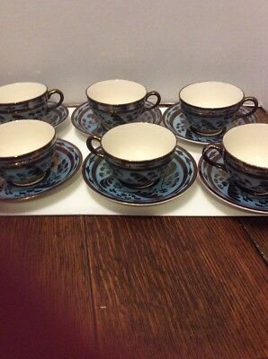 Lusterware Copper And Blue Tea Cups & Saucers Old Castle England