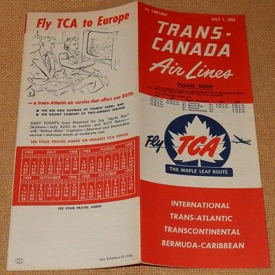 July 1952 TRANS-CANADA Air Lines TIMETABLE