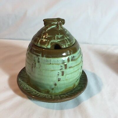 Vintage FRANKOMA 803 Bee Hive Honey Jar Pot Prairie Green