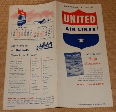 July 1951 UNITED Air Lines TIMETABLE