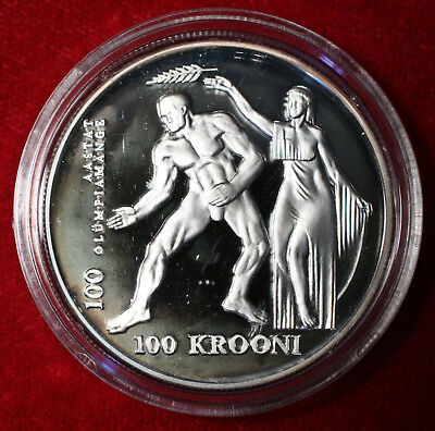 Estonia 1996 silver 100 Krooni Olympic Commerative in box with certificate