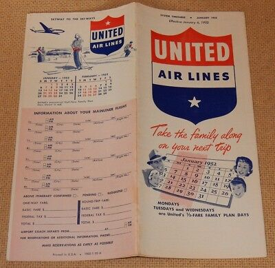 January 1952 UNITED Air Lines TIMETABLE