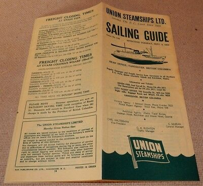 1947 UNION Steamships SAILING GUIDE Brochure VANCOUVER British Columbia
