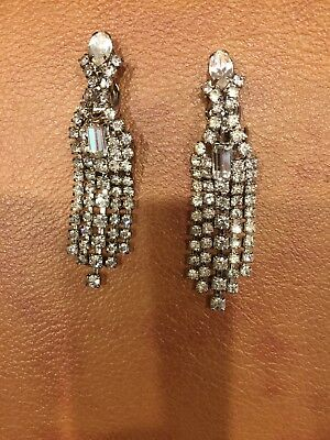 Vintage Art Deco Rhinestone, Gorgeous, Long Dangle Chandelier Earrings, Bling