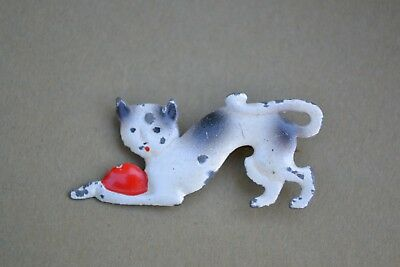Antique/vintage cat brooch tin? painted or enameled metal charming old