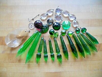 """Vintage/antique Crystal Cut Lamp Prisms~Round, Faceted, 2-3"""" Long, Green & Clear"""