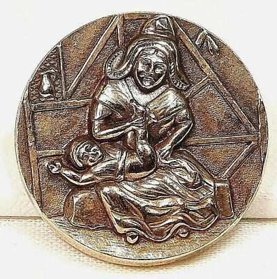 SCARCE Antique Vintage Brass Metal  BUTTON WOMAN Changing the Baby  #45