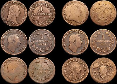 Mixed German States and Austria - Lot of 6 coins, 1700's and 1800's