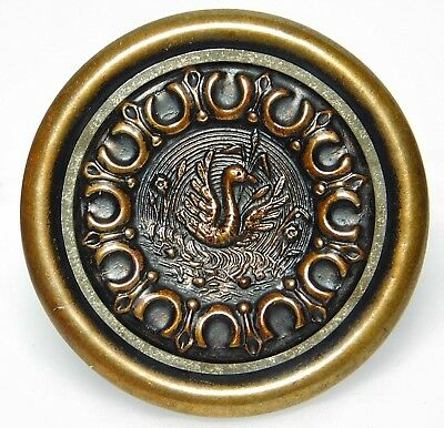 Beautiful XL Antique Metal VICTORIAN Picture Button ORNATE BRASS Swan C1