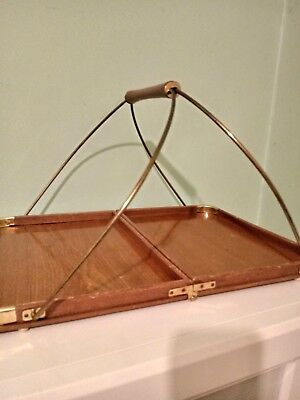 VINTAGE Mid Century  wood brass Handled Folding Tray