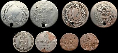 Mixed German States and Austria - Lot of 4 coins, 1700's and a 1849, some silver