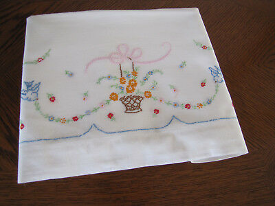 Vintage Single Pillowcase Embroidered Blue Birds & Basket & Scrolling Asters Wow