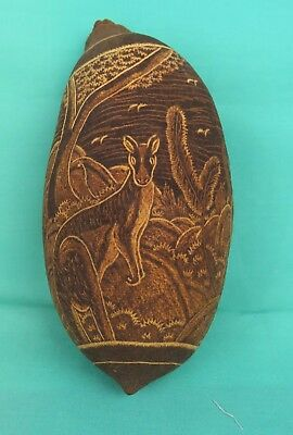 Australian Aboriginal Hand Carved Kimberley Boab Nut with Kangaroos and Emus