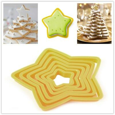 6Pcs/Set Five-pointed Star 3D Christmas Tree Cookie Cake Cutter Mold Baking Tool