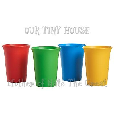 Tupperware Bell Tumblers 7 oz Kids Cups Primary Colors Red Blue Green Yellow NEW