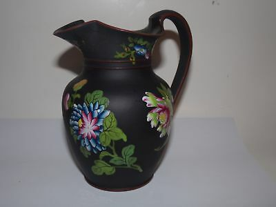 ANTIQUE WEDGWOOD BLACK BASALT CREAMER-CAPRI WARE-ENAMEL PAINTED-5.5in-1850s?NR