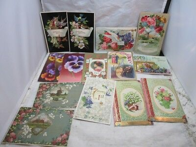 15 Victorian, embossed greeting postcards. Birds, flowers, more...