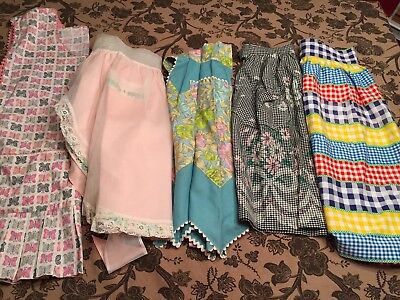 Vintage Lot of 5 Aprons Different Eras Gingham, Half Aprons, 1 Full, Lace 1 New