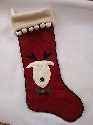 Woof & Poof Christmas Stocking Sherpa 2004 Reindeer Red Cream Pom Pom