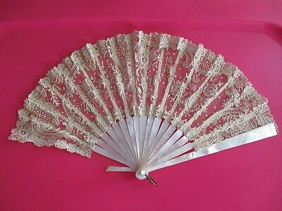 Antique Mother of Pearl And Lace Hand Fan ~ As Is
