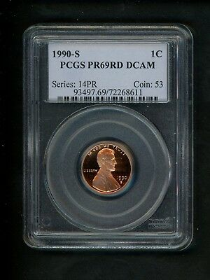 1990-S US Lincoln Memorial Cent 1c .01 PCGS PR69 RD DCAM Red Proof Deep Cameo