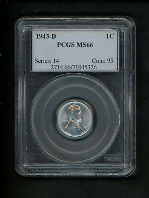 1943-D US Lincoln Wheat Cent 1c .01 PCGS MS66 Uncirculated Gem Bright Fresh