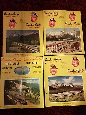 Canadian Pacific Railroad Time Table Lot Of 4 Timetables