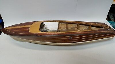 """28"""" Antique Wooden Chris Craft Style Remote Control Boat - PROJECT Needs Work"""