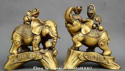 China fengshui old bronze auspicious elephant wealth elephant gourd statue pair