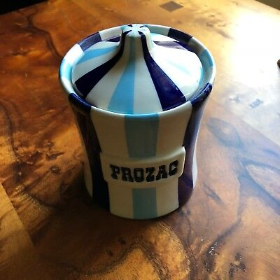 Johnathan Adler Prozac Canister / Jar - Blue and White