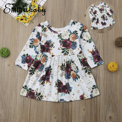 Toddler Kids Baby Girls Long Sleeve Floral Dress Casual Party Tutu Dress 1-5Year