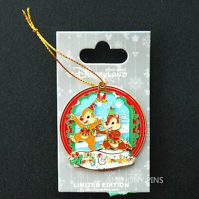 Disney Pin Hong Kong HKDL 2017 Christmas LE500 Pin Chip Dale New on Card Cute