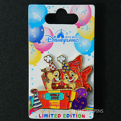 Disney Pin Hong Kong HKDL 2018 Chip n Dale Birthday LE 500 Pins New on Card